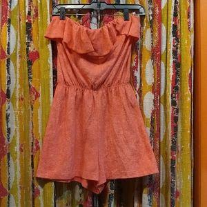 Orange Terry Cloth Romper